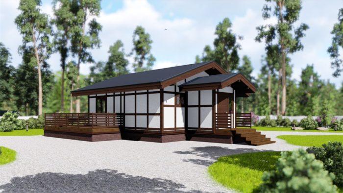 каркасный дом с террасой